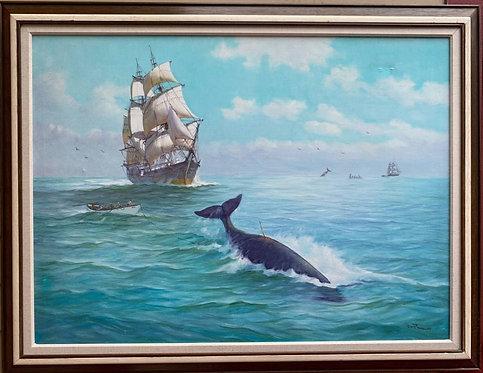 Humberto da Silva Fernandes(1937-2005)Clipper Ship Large Oil Painting on Canvas
