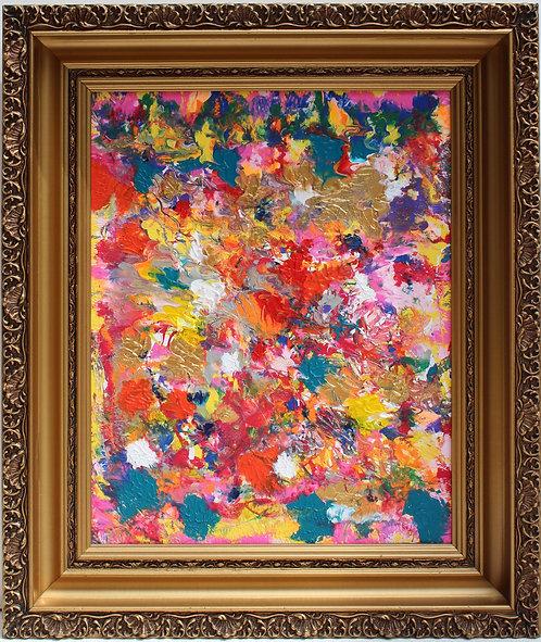 Abstract Painting on Canvas, Fantasy , Signed Serg Graff, COA, gild frame