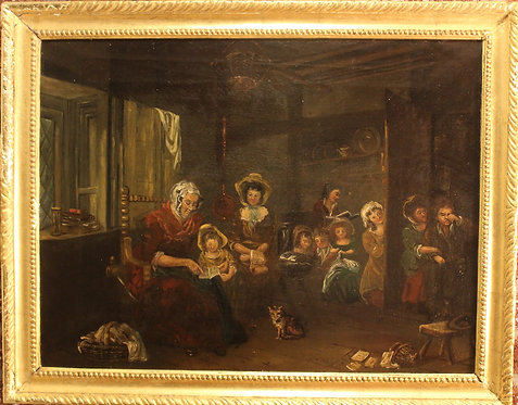 19 cent Antique oil painting on canvas, Interior scene with a family, Framed