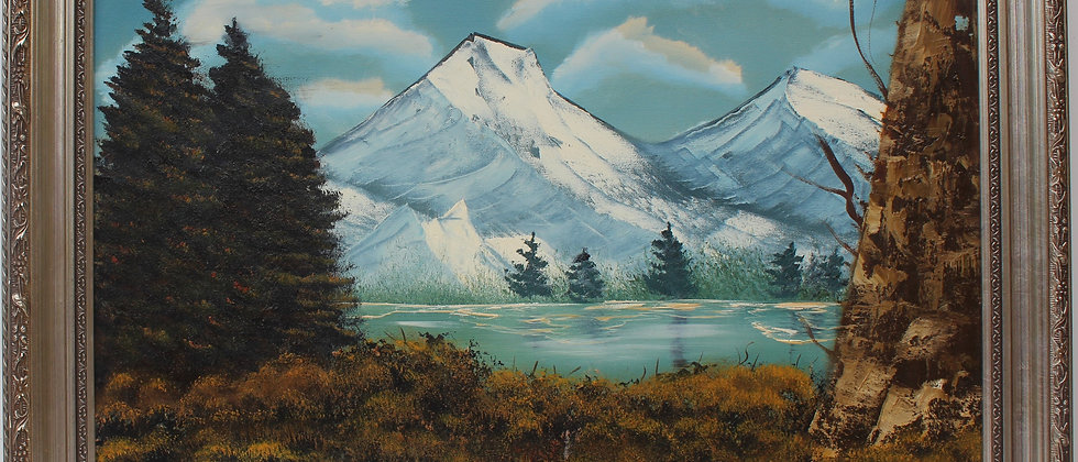 Vintage  oil painting on canvas, landscape, mountain view, signed R.Dean,framed