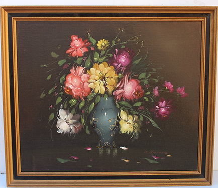 Original Oil Painting On Canvas, Still life, flowers, Signed R.Hunther, Framed