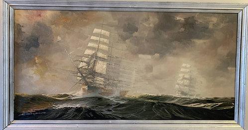 Listed Italian Artist Renato Longanesi Huge oil painting on canvas, Clipper ship