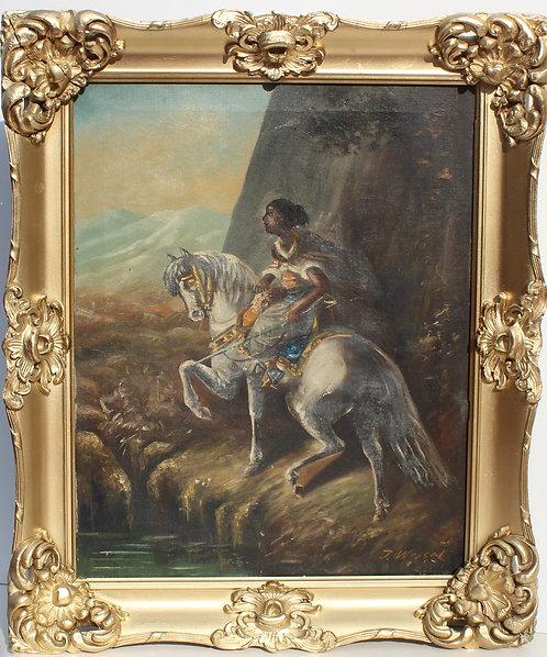 Antique Original Oil Painting on canvas  Signed J.Wessel, Framed