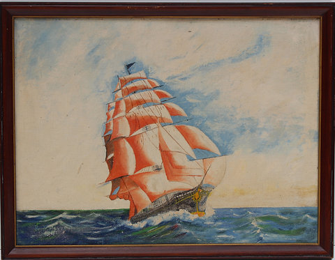 Vintage 1944 oil painting on board, seascape,Sailing ships on the Sea, H.B.Hayes