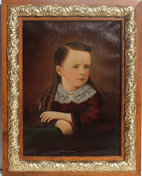 19 cent. Antique dated 1883 original Oil Painting on canvas, Portrait, Signed