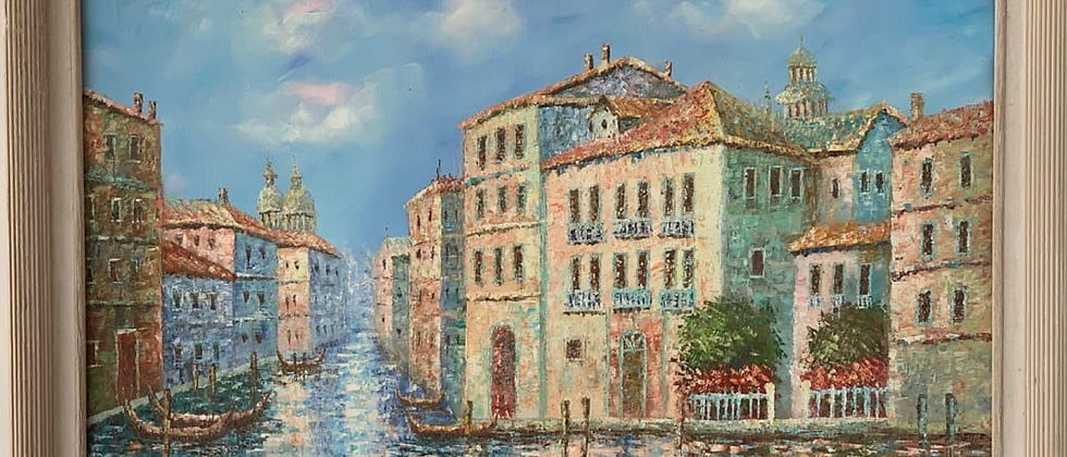 Large oil painting on canvas, Italy, Venice, Canal view, Signed Charlote