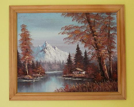 Original Vintage  oil painting on canvas landscape, signed W.Chandler, framed