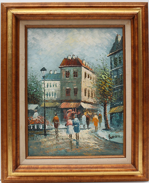 Listed Artist C.Burnett(IX-XX)  oil painting on canvas Paris Street Scene,framed