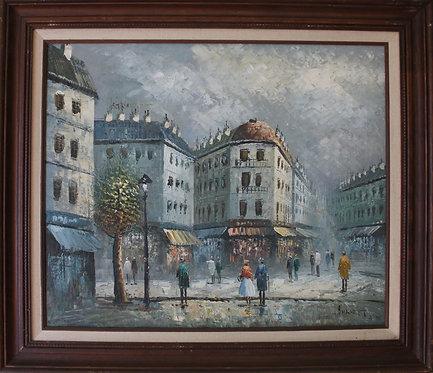 Listed Artist C. Burnett (IX-XX) original oil painting Paris Street Scene