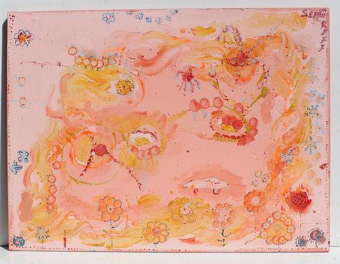 "Large Abstract Painting on Canvas ""Vanilla Ice Cream"", Signed Serg Graff, COA"