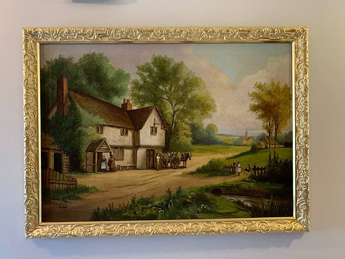 Large Antique Original Oil painting on canvas, Country Landscape, signed
