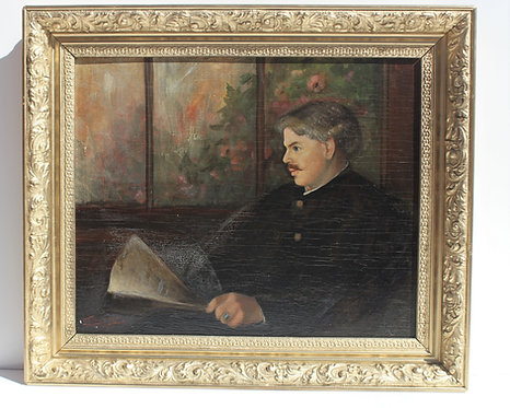 Antique Oil painting on board, E.Huntington Huggins 1867-1963, Portrait,Dated.