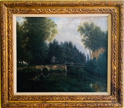 Antique 1869 oil painting on canvas MARIE VINCENS (FRENCH)Landscape,Dated,Signed
