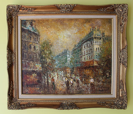 Original oil painting on canvas, cityscape, Paris street view, signed, framed