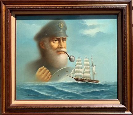 Original Oil painting on Canvas, Galleon at Sea, Captain, Signed, Framed