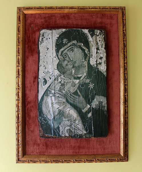 Mother Mary and Child antique Icon, print on wood, framed, wall art hanging
