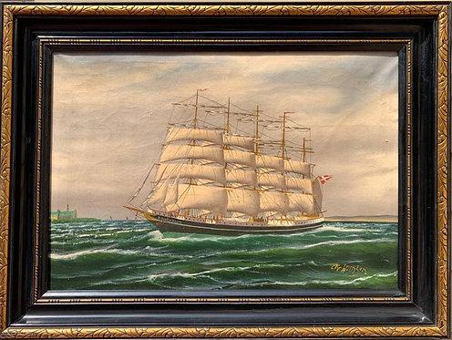 Danish Antique oil painting on canvas, Seascape, Sailing ship, signed K.Hansen