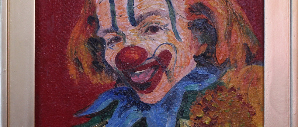 Vintage Oil Painting on canvas panel, Portrait of a Clown, Unsigned, Framed