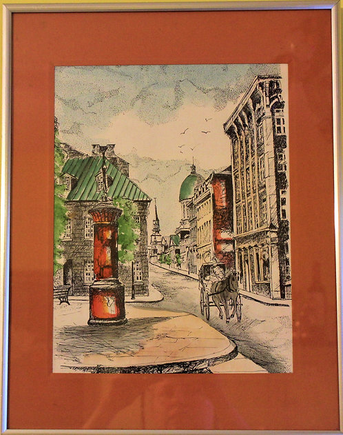 Nice watercolor painting, cityscape, Framed