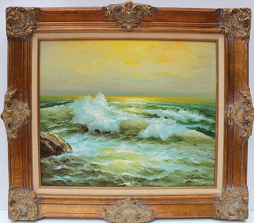 Vintage original oil painting on canvas, seascape, sunset, signed Stevens,framed