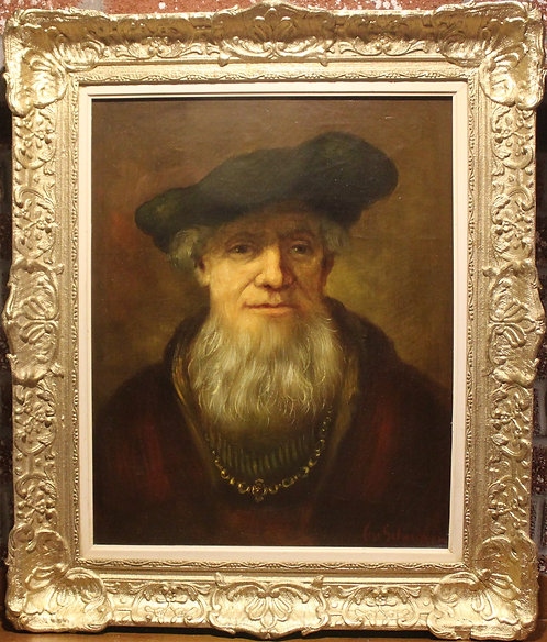 Vintage Oil on Canvas painting, Portrait of a bearded man ,signed, framed