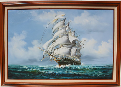 Large oil painting on canvas, seascape,Sailing ship on the ocean,Signed,framed