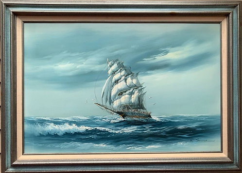 Large oil painting on canvas, seascape, Sailing ships on the ocean, K.Samuel