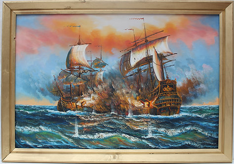 J.Harvey Large Oil painting on canvas, SHIPS BATTLE AT SEA, Signed, Framed