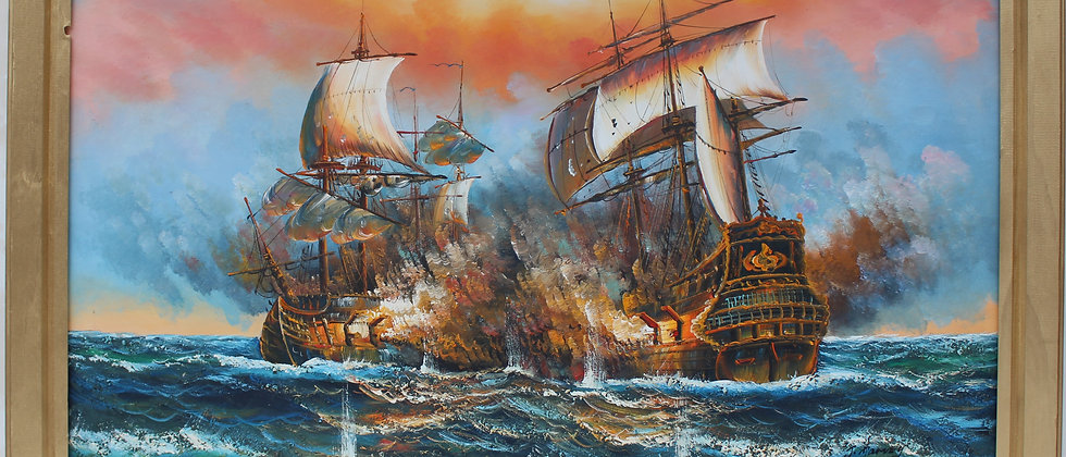 J.Harvey Large Oil painting on canvas, SHIPS BATTLE AT SEA, Signed, Framed