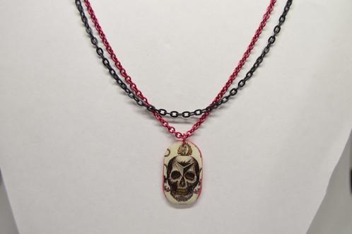 Tattoo Style Skull Multi Chain Necklace