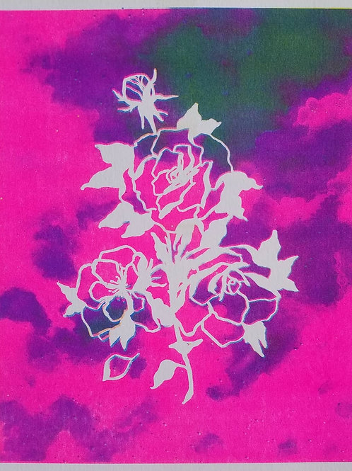 Rainbow Rose Riso Print