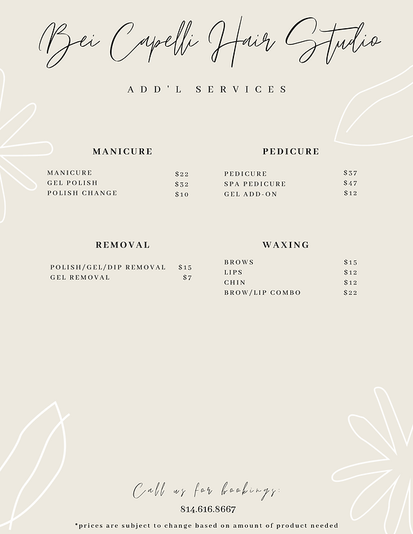 Add'l Services Menu