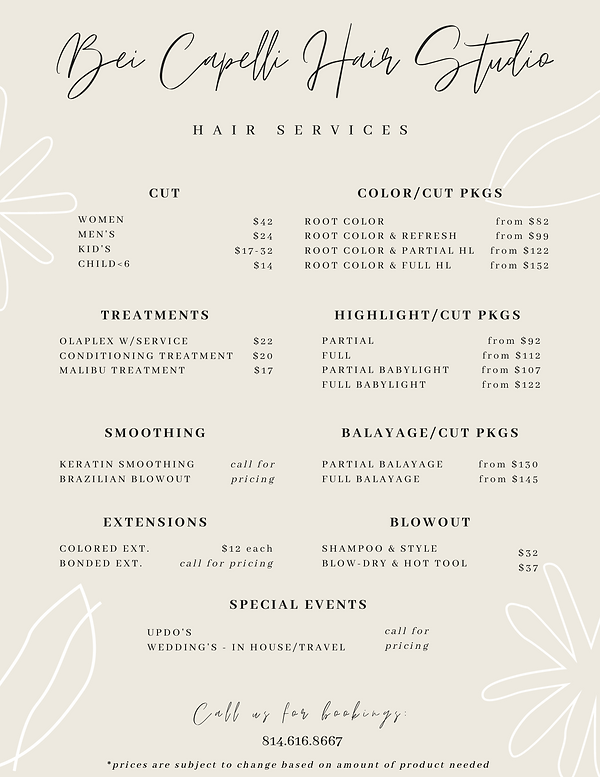 Hair Services Menu