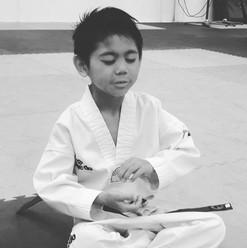 Jono focused on his meditation
