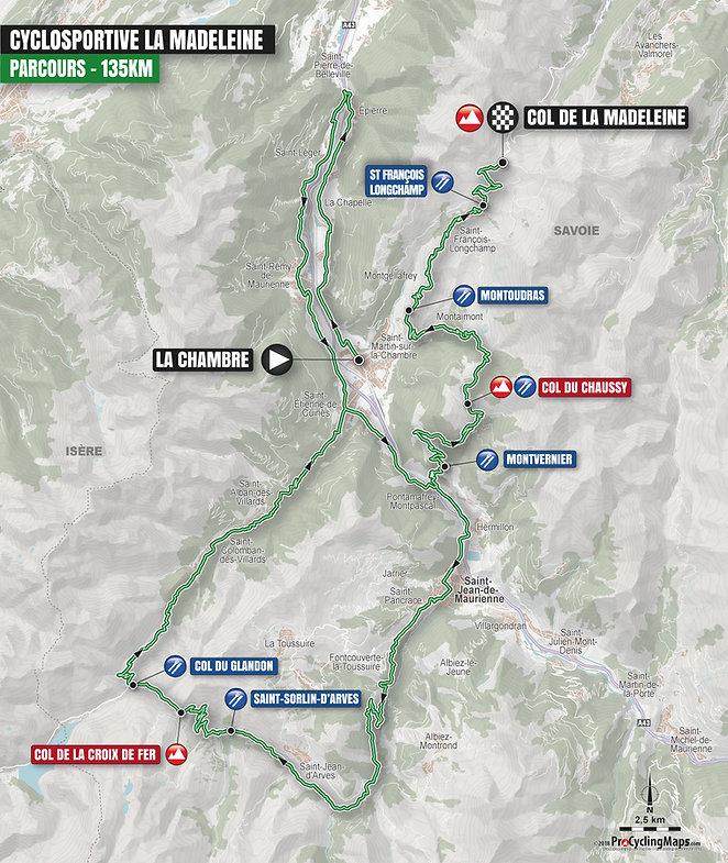 Carte du parcours 135km de a Cyclosprotive de la Madeleine