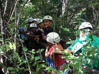 Zip lining at Selva Maya