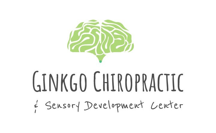 Ginkgo Chiropractic & Sensory Development Center's logo, which is a green ginkgo tree leaf patterned with the grooves and sulcis of a brain.