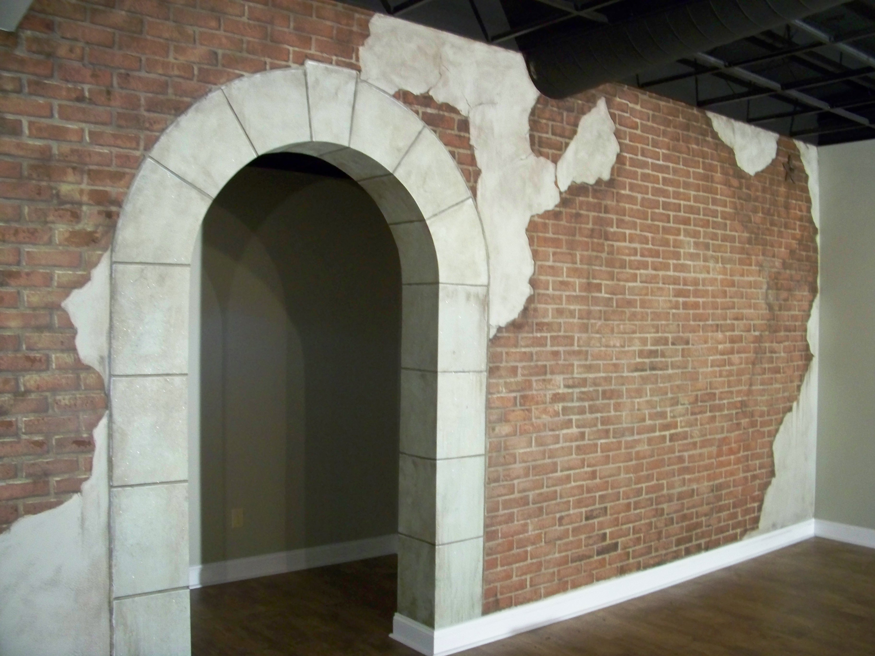 Faux Brick and Stone Wall