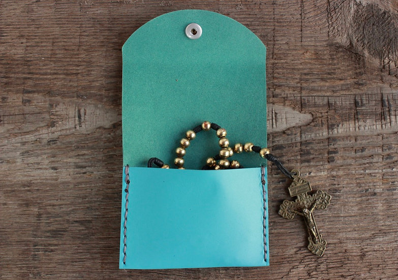 Sky Blue Kangaroo Leather Rosary Pouch