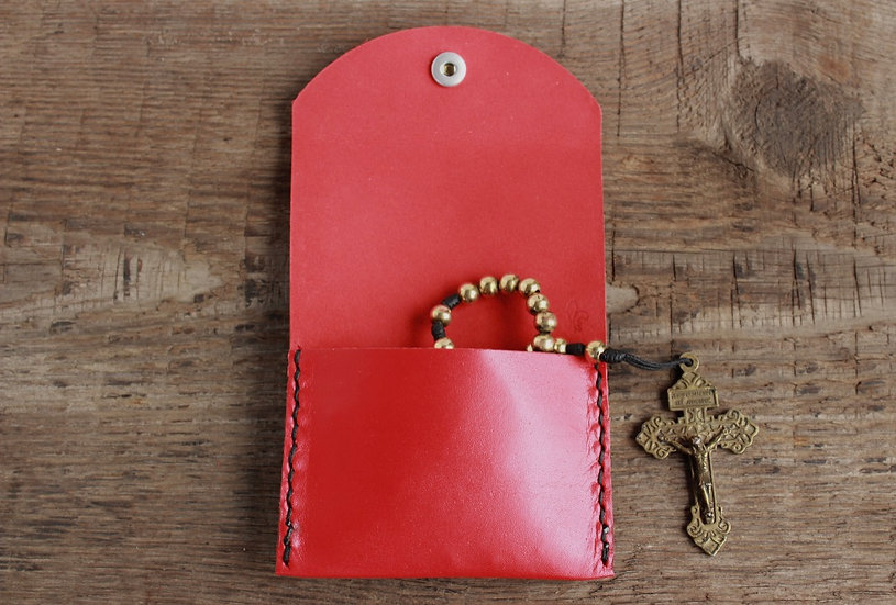 Red Kangaroo Leather Rosary Pouch