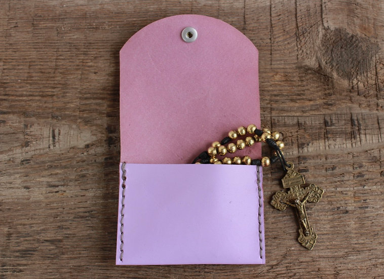Lavender Kangaroo Leather Rosary Pouch