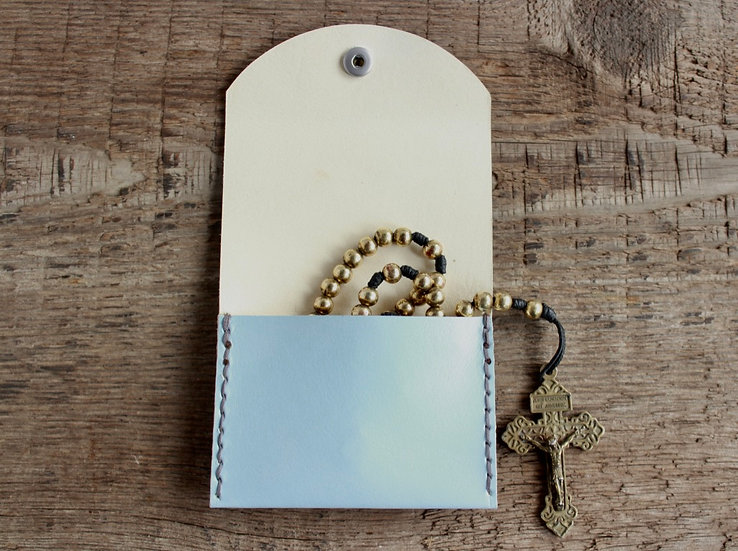 Light Blue Kangaroo Leather Rosary Pouch