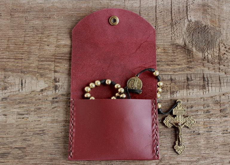 Mahogany Kangaroo Leather Rosary Pouch