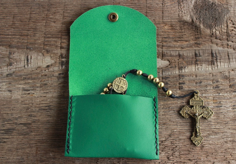 Kelly Green Kangaroo Leather Rosary Pouch