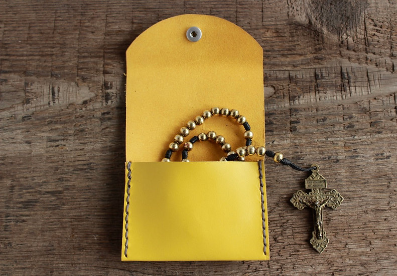 Yellow Kangaroo Leather Rosary Pouch
