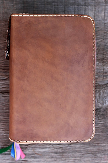 Light Brown Oil-Tanned Zippered Breviary Cover