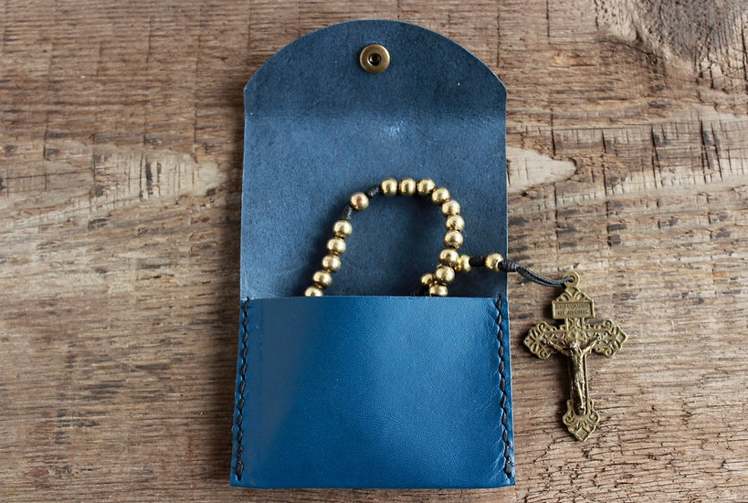 Royal Blue Kangaroo Leather Rosary Pouch
