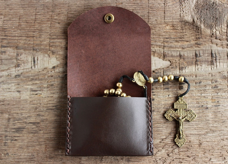 Chocolate Brown Kangaroo Leather Rosary Pouch