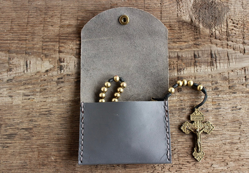 Gray Kangaroo Leather Rosary Pouch