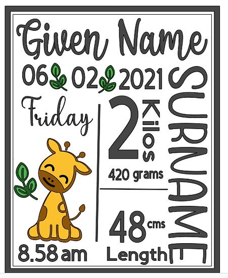 Giraffe Birth Announcement